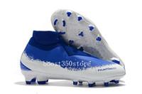 weiße strickstiefel großhandel-2019 blau weiße Fußballschuhe Phantom VSN Elite DF FG 39-45 Knöchelhoher Outdoor-Fußballschuh