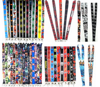 шейные связки ключей оптовых-100 pcs mix cartoon   Straps Lanyard ID Badge Holders Mobile Neck Keychains For Party Gift R20