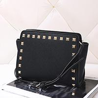 Wholesale black rivet woman handbag for sale - Group buy European and American style new ladies trapeze shoulder bag handbag PU leather seven color a large number of shipping costs