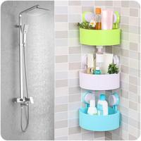 banyo malzemeleri toptan satış-Sıfır 2017 Plastik Vantuz Banyo Mutfak Köşe Depolama Raf Organizatör Duş Raf Satın Alma Promosyon ürünleri Sıcak