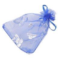 kelebek lehine çanta toptan satış-25x Güzel Kelebek Organze Takı Kılıfı Hediye Çantası Düğün Noel Partisi Favor, 9x12 cm (Mavi)