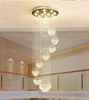 grande moderno flush teto luzes venda por atacado-Lustre moderno Grande Luminária de Cristal para Lobby Escada Escada Foyer Espiral Longa Lustre Lâmpada Do Teto Lavar a Luz Da Escada Montado