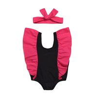 Wholesale girl swimsuits for sale - Group buy Girls Swimwear baby Bathing Suit One Pieces children ruffle sleeve Swimsuit with headband baby Swim Wear Summer Kids Clothing C6360