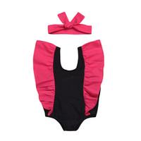 niños vistiendo bikinis al por mayor-Traje de baño para bebés Traje de baño para bebés Una pieza niños volante manga Traje de baño con diadema Bebé Traje de baño 2019 Verano para niños Ropa C6360