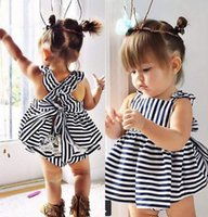 Wholesale black chinese baby dress resale online - Newborn Infant Baby Girls Kid Bowknot Dresses Shorts Sunsuit Outfits Set Clothes
