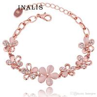 cristal de opala strass venda por atacado-Pulseiras de opala charme infinito pulseiras de ouro finas de cristal strass pedra rosa pulseiras de ouro 18k
