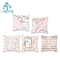 Wholesale custom cushion case for sale - Group buy Diy Custom Polyester Marble Pattern Geometry Throw Pillows Case Cover Sofa Home Car Cushion Cover Decoration for Bedroom