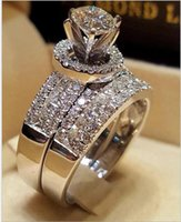 Wholesale women engagement rings resale online - Cute Female Crystal White Zircon Stone Ring Set Luxury Silver Engagement Ring Vintage Bridal Wedding Rings For Women