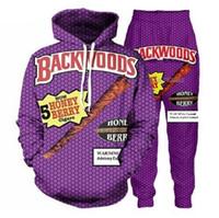 pantalones de color para mujer al por mayor-Los nuevos hombres / mujeres Backwoods Honey Berry Blunts divertido de impresión en 3D Moda cuello redondo de los chándales de Hip Hop con capucha y pantalones 2 piezas Set sudaderas con capucha