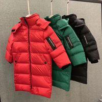 продажа длинных зимних пальто девочек оптовых-Горячие продажи Марка B зима девочки мальчики пуховик дети 90% белый утка вниз обивка пальто дети младенческая с капюшоном верхняя одежда длинный пуховик