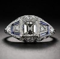 venda de anel azul venda por atacado-Best-seller azul embutido azul zircão anel feminino beleza padrão criativo anel de noivado festa do sexo feminino jóias anillos