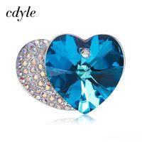 herzstift blaue kristalle groihandel-Großhandel Kristalle von Swarovski Doppel-Herz-Brosche-Stiften für Frauen-Braut Mom Pullover Schal Anzug Brosche prickelnden Blue Crystal