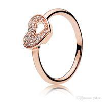diamantes em forma de coração venda por atacado-Forma de coração oco 18k subiu anel de ouro conjunto caixa original para pandora 925 prata esterlina cz diamante de diamante anel de enigma