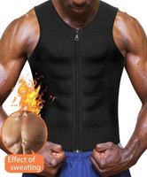 Wholesale slimming tank for men for sale - Group buy Hot Sauna Sweat Suits Zipper Closure Tank Top Shirt for Weight Lost Waist Trainer Vest Slim Belt Workout Fitness Breathable ShaperWear