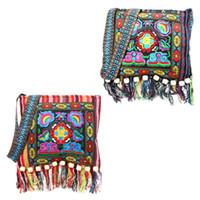 çince etnik nakış toptan satış-Hmong Vintage Etnik Omuz Çantası Nakış Boho Hippie Püskül Tote Messenger Çin Etnik Tarzı Renkli Çanta