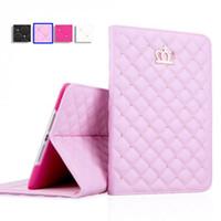 ipad mini casos diamantes venda por atacado-Flip tablet pc case capa coroa de diamante de couro tablet case para ipad 3 4 mini 2 3 air 2 casos ipad