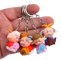 bebek şirketi toptan satış-HYS353 Keçi Styling Doll Anahtarlık Karikatür 3D Bebek Anahtarlık El Yapımı Sevimli Yaşlı erkekler Anahtarlık Klasik Çift Çanta Kolye Şirketi Parti Hediye