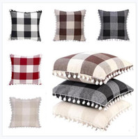 Fabulous Pillowcases Tassel Pompom Ball Decorative Cushion Cover Grid 5 Colors Square Pillow Case For Sofa Chair Car 45 45Cm Free Shipping Creativecarmelina Interior Chair Design Creativecarmelinacom