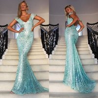 Wholesale evening gown backless online - Gorgeous Light Blue Lace Sequined Mermaid Prom Dresses Formal Wears Evening Dresses Sexy Backless Off Shoulders Long Party Gowns Cheap