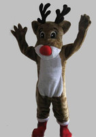 trajes de rena adulta venda por atacado-Frete grátis Rudolph Renas Mascot Costume Clássico Dos Desenhos Animados Trajes Tamanho Adulto