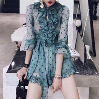 ingrosso vestiti lunghi per le donne-Ruffles Polka Dot Playsuits Donna V Neck Lace Up Long Sleeve Prospettiva Tute Sexy Femminile 2019 Summer Fashion