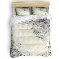 desenhos animados de fundo venda por atacado-Flor abstrata fundo George Washington aniversário 4 peças conjuntos de cama Quilt Bedding Set Dia da Independência de Poliéster