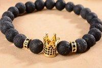 pulseiras de ouro buda venda por atacado-8mm xgh535 prata ouro cobre coroa micro pave zircônia cz zircônia cúbica pulseira preta lava vulcânica pedra de buda yoga pulseiras