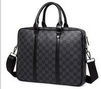 evrak çantası satışı toptan satış-Yeni Sıcak Satış Tasarımcı Omuz Evrak Çantası Siyah Deri Tasarımcı Çanta Iş Erkek Dizüstü Messenger Çanta