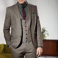damat tüylü yelek smokeyi toptan satış-Kış Tweed Erkekler Suit 2019 Tailor Made Düğün Damat smokin Damat Kostüm Üç Parçalı Ceket Pantolon Yelek Örgün Blazer