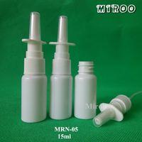 bouteille vide de 15 ml achat en gros de-100 + 2pcs / lot 15 ml vide bouteille de pulvérisation en plastique avec brouillard nasal blanc brillant avec atomiseur pulvérisateur pompes nasales
