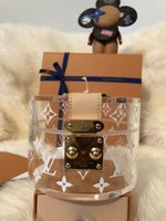 Wholesale handmade cosmetic bags resale online - designer women pvc jelly clear handbags luxury cosmetic case stuff sacks gift box transparent bag bag louis vuitton storage bag