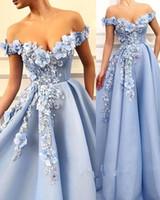 vestido de princesa cielo al por mayor-Sky Blue Princess Vestidos de fiesta de noche 2019 Off Shoulder 3D Floral Perlas Puffy Falda Árabe Dubai Ocasión Vestidos de baile