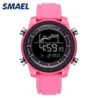 impermeable led led rosa relojes al por mayor-Relojes de mujer Reloj digital de pulsera digital SMAEL Relojes a prueba de agua Relojes con alarma Relojes de pulsera 1556 Rosa reloj mujer Reloj digital