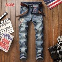 petits pieds jeans achat en gros de-2019 Nouveaux Jeans Haute Qualité De Luxe Hommes Designer Jeans Patch Mince Peinture Petits Pieds Locomotive Hommes Jeans Taille 28-38