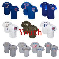grünes blaues gold großhandel-Jugend Kinder Kind Chicago Cubs # 17 Kris Bryant Baseball Jerseys Weiß Blau Grau Grau Gold Grün Gruß Spieler Wochenende All Star