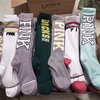 Wholesale legs warmers for sale - Pink Letter Women Socks Knee High Sports Cheerleaders Football Stockings Love Pink Cotton Leg Warm Stockings Fashion Girls Long Socks Multi