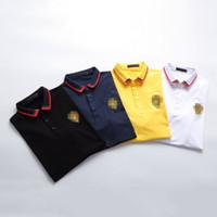 polos amarillos hombres al por mayor-Hombres de la marca Polos Camisa Casual Collar de cobertura Camisetas de verano Casual Clásico Poloshirt M-3XL Blusa Camisetas Negro Blanco Amarillo Azul M-3XL