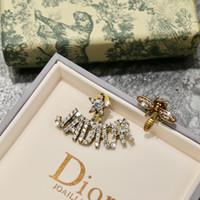 en iyi stud küpeler toptan satış-Lüks Arı Saplama Küpe Takı Kadınlar için En Kaliteli Tasarımcı Tam Taklidi Bakır Elmas Küpe Düğün Doğum Günü Hediyeleri