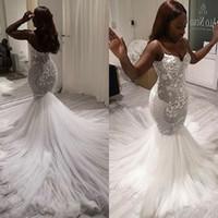 Wholesale custom wedding dress patterns resale online - 2020 Modern South African Mermaid Wedding Dress Bridal Gown Sexy V Neck Spaghetti Straps Lace Pattern Tulle Long Vestido de noiva