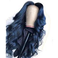 синие волосы черные женщины оптовых-13X6 Глубокая Часть Синего Цвета Фронта Шнурка Человеческих Волос Парики Свободная Волна Полный Фронт Шнурка Для Чернокожих Женщин Предварительно соединены Может Сделать 360 Булочка