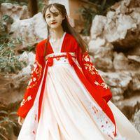 rote chinesische kleidung großhandel-Hanfu Rotes Kleid Chinesische Traditionelle Kostüme Frauen Elegante Hanfu Kleidung Chinesisches Altes Kostüm Volkstanz Rock DQL348