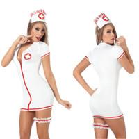 yeni hemşirelik üniformaları toptan satış-Yeni Seksi Üniforma Temptation Rol Yapma Hemşire Üniformalar Düzgün Sex Shop İç Beyaz Yetişkin Leotard İçeriyor