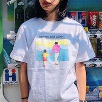 karikatür toprak toptan satış-20SS Kutusu Logo Cennet Ve Dünya Tee Karikatür Sevimli Moda Erkekler Kadınlar Çiftler Tişört Katı Renk High Street Kısa Kollu Yaz Tee HFYMTX658