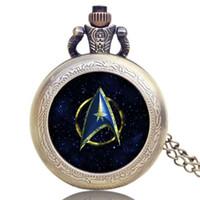 relógios de bolso de estilo antigo venda por atacado-Wholesal Antique Style Star Trek relógio de bolso de quartzo com colar Steampunk Pocket Watch para homens mulheres
