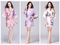 franela de maternidad al por mayor-Kimono floral pajams verano niñas señora camisón 12 estilos de seda ropa de dormir vestido de noche de las mujeres con cuello en v pjms B11