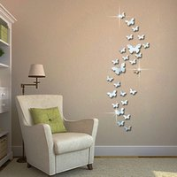 Wholesale wedding wall decals for sale - Group buy 3D Mirrors Butterfly Wall Stickers Decal Wall Art Removable Room Party Wedding Decor Home Deco Sticker for Kids Room
