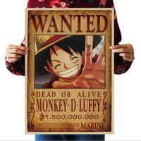 cartel de pared de una pieza al por mayor-Luffy Zoro Wanted Poster Anime Se busca una pieza Poster Vintage Poster Papel Kraft Pintura Decorativa Papel Carteles Etiqueta de la pared Tatuajes de arte
