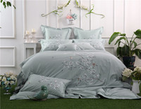 Wholesale oriental bedding for sale - Group buy 100 Cotton Oriental Embroidery Luxury Bedding set Queen King Size Grey Colo Floral Bed set Duvet cover Bed sheet Pillowcase