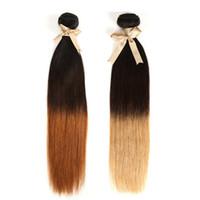 наращивание волос блондинкой оптовых-Blonde Malaysian Hair Weave 3/4 Связки Продажа 1B 4 27 Малайзийские Прямые Волосы Плетение 3 Тона Ombre Прямые Наращивание Волос