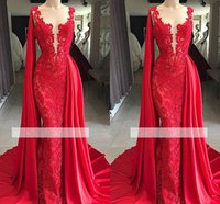 Wholesale navy blue white scarf for sale - Group buy 2019 Real Photos Elegant Red Lace Jewel Neck Mermaid Prom Dresses With Scarf Beads Watteau Train Evening Dresses Formal Gowns Customize